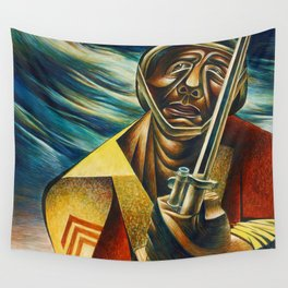 African-American 1944 Classical Masterpiece 'Black Soldier' by Charles White Wall Tapestry