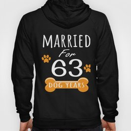 9th Anniversary Funny Married For 63 Dog Years Marriage graphic Hoody