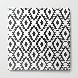Aztec geometrics - B&W Metal Print