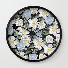 Vintage Rose Pattern Blue On Chalkboard Wall Clock