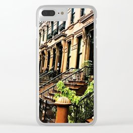 Harlem Brownstones on a summer's day Clear iPhone Case