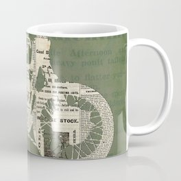Motorcycle on newspaper, news collage art, decoration man cave, bike cut art Coffee Mug
