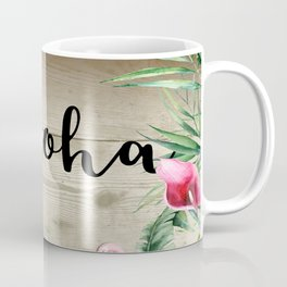Rustic Tropical Floral Leaves & Lights Coffee Mug