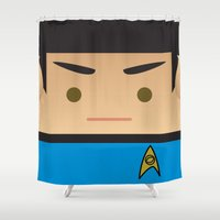 spock Shower Curtains featuring SPOCK by Sam Del Valle