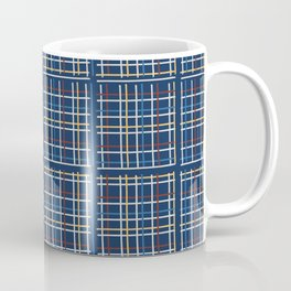Navy Blue Criss Cross Weave Hand Drawn Vector Pattern Background Coffee Mug