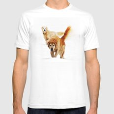 Two dogs MEDIUM Mens Fitted Tee White