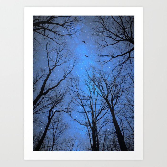 A Certain Darkness Is Needed (Night Trees Silhouette) Art Print