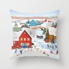 Snow Family Throw Pillow