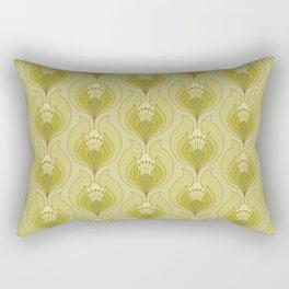 Light Green Floral Art Nouveau Inspired Pattern Rectangular Pillow