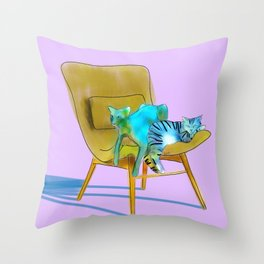animals in chairs #12 Cats Throw Pillow