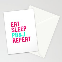 Eat Sleep Peanut Butter and Jelly Quote Stationery Cards