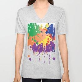 Colourful Paint splash Unisex V-Neck