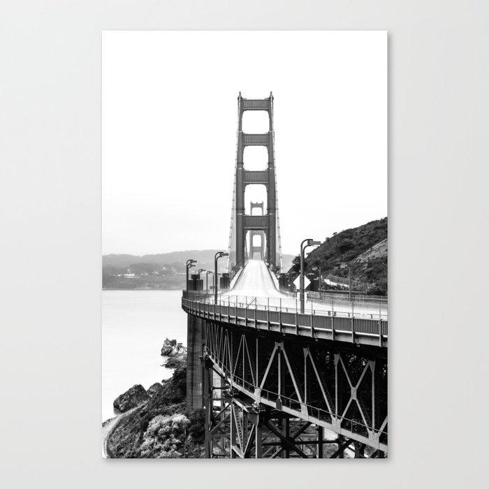 Golden Gate Bridge Black And White Canvas Print By Judithhoy