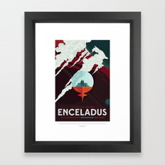 Enceladus - NASA Space Travel Poster Framed Art Print