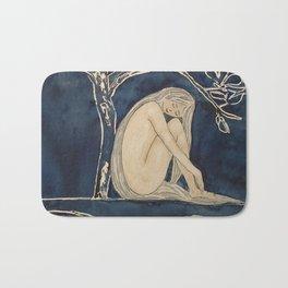 Girl sleeping under magnolia flowers Bath Mat