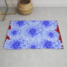 BLUE WHITE DAHLIA FLOWERS IN CHOCOLATE BROWN Rug
