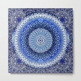 Cobalt Tapestry Mandala Metal Print