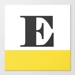 Monogram Letter E-Pantone-Buttercup Canvas Print