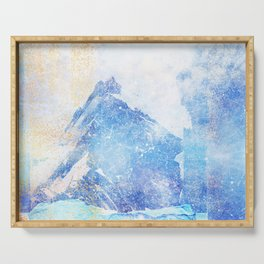 Blue Ice Mountains :: Fine Art Collage Serving Tray