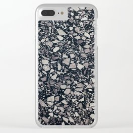 terrazzo shades of grey Clear iPhone Case