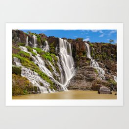 Long exposure of the beautiful Pongour waterfalls, Vietnam Art Print