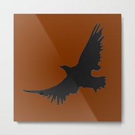 COFFEE BROWN FLYING BIRD SILHOUETTE Metal Print