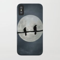 Two Crows In The Light Of A Silvery Moon iPhone X Slim Case