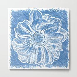 White Flower On Denim Blue Crayon Metal Print
