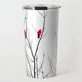 Artistic Bright Red Birds on Tree Branches Travel Mug