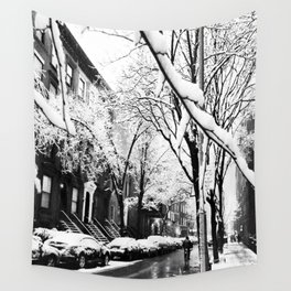 Black and White Photo of the Beautiful Brooklyn Heights covered in icy snow Wall Tapestry