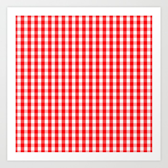 Large Christmas Red And White Gingham Check Plaid Art Print