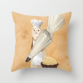 Ferret and Frosting Throw Pillow