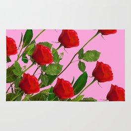 RED LONG STEMMED ROSES ON PINK Rug