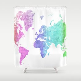 """Rainbow world map in watercolor style """"Jude"""" Shower Curtain"""