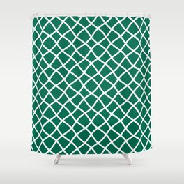 Teal green and white curved grid pattern Shower Curtain
