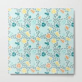 Modern teal orange black geometrical shapes confetti pattern Metal Print