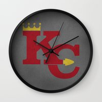 kansas city Wall Clocks featuring Kansas City Sports Red by Haley Jo Phoenix