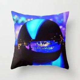 Through the crystal ball / Glass Ball Photography Throw Pillow