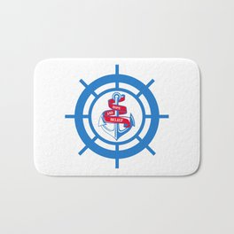 Anchor and steering wheel Bath Mat