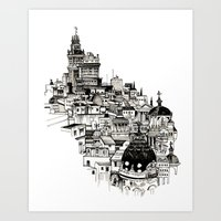 madrid Art Prints featuring Madrid by Justine Lecouffe