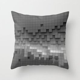 Grey cubes mosaic - torn wall Throw Pillow