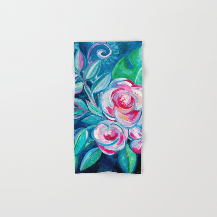 Tropical Camellia Extravaganza - oil on canvas Hand & Bath Towel