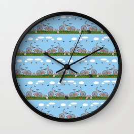 Pink bicycles pattern Wall Clock