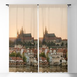 Prague Castle and Vltava river at sunset Blackout Curtain
