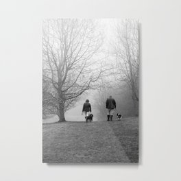 Walking The Dog In Hilltop Fog Metal Print