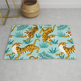 Asian tigers and tropic plants on background. Rug