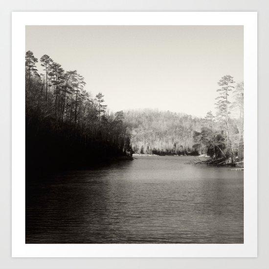 Black & White Lake Art Print