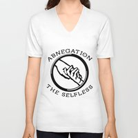 divergent V-neck T-shirts featuring Divergent - Abnegation The Selfless by Lunil