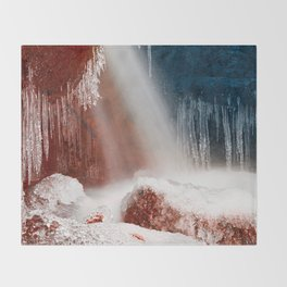 Winter Harmony Stream - Red White & Blue Throw Blanket