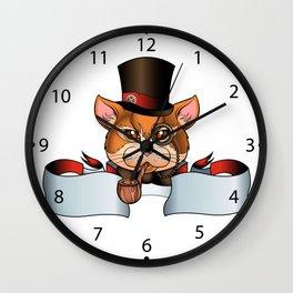 cat old school tattoo Wall Clock